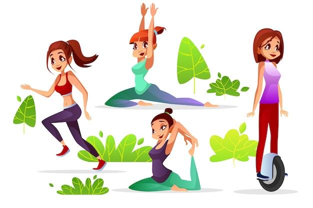 公園のジョギングやヨガ、スポーツ運動に乗っている若い女の子の女性のレジャー