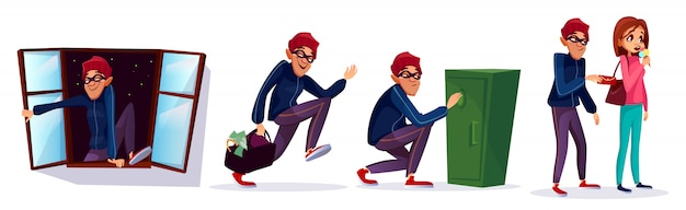 漫画の強盗、泥棒のキャラクターセット。盗まれたお金で走っている泥棒