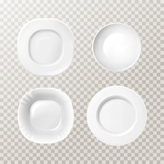 空白の白いセラミックプレートモックアップセット。現実的なポーラン料理の円形料理