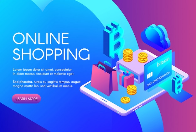 Иллюстрация покупки в интернете биткойн-платежей или криптовалютной карты