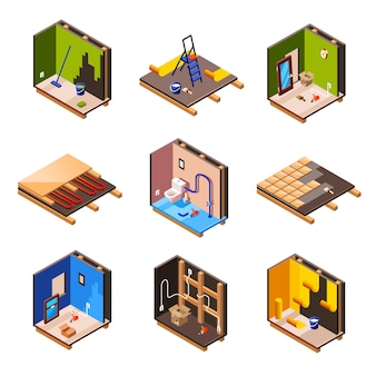 家の内部の改装と家の断面の修理作業プロセスの段階。