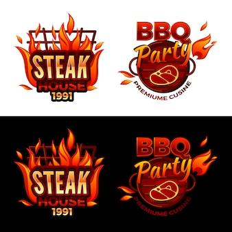 バーベキューパーティロゴや高級肉料理のステーキハウスのイラスト