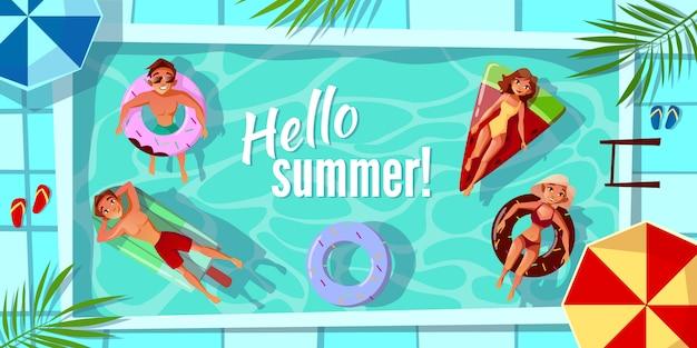 挨拶状や季節のポスターのハローサマーイラスト。