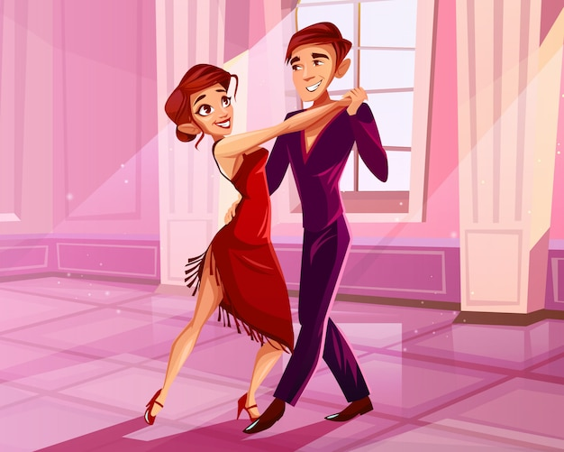 ボールルームで踊っているカップルタンゴダンサーのイラスト。男と赤のドレスの女性