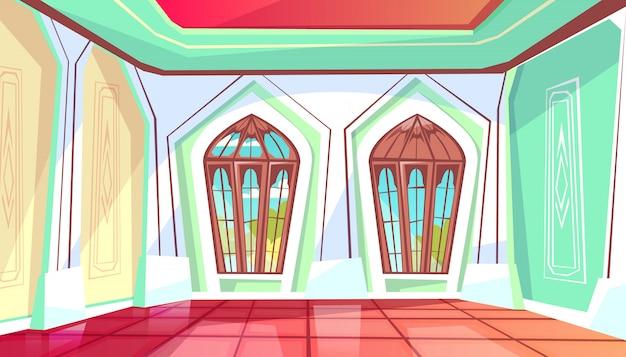 庭の眺めに窓がある王宮のホールのボールルームのイラスト。
