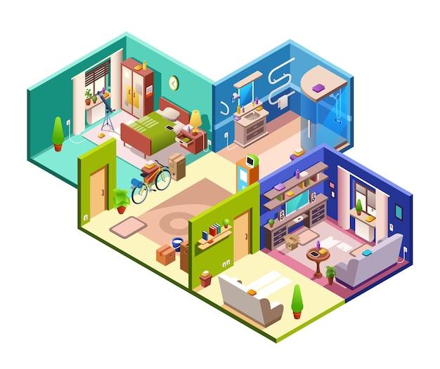 アパートは近代的な平らな計画の横断面のイラスト。