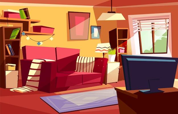 リビングルームモダンまたはレトロアパートの内部のイラスト。