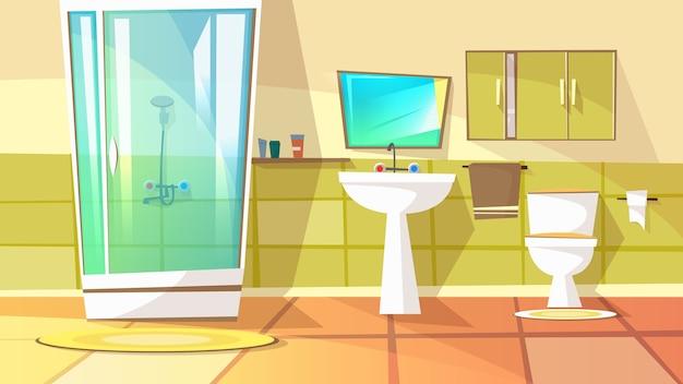 Ванная комната с душевой кабиной с иллюстрацией домашнего интерьера. внутренний туалет