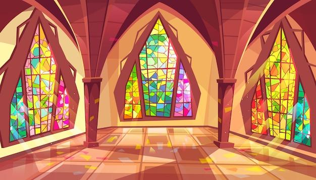 ステンドグラスの窓が付いている王宮のゴシック様式の宮殿ホールのボールルームのイラスト