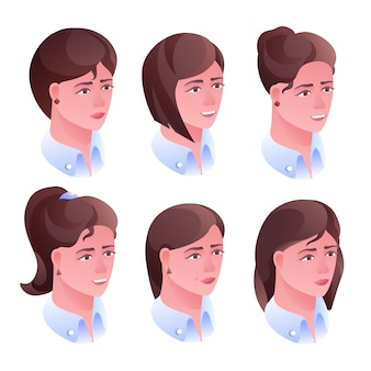 ソーシャルネットの美容院サロンやアバタープロフィールの女性の頭髪のイラスト