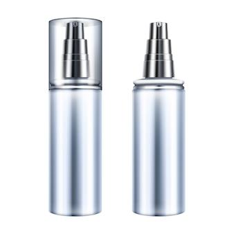 ディスペンサー付きのプラスチックまたはガラスの透明容器の化粧品ボトルの図