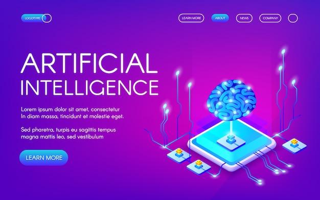 Иллюстрация искусственного интеллекта человеческого мозга с набором микросхем цифровых нейронов.