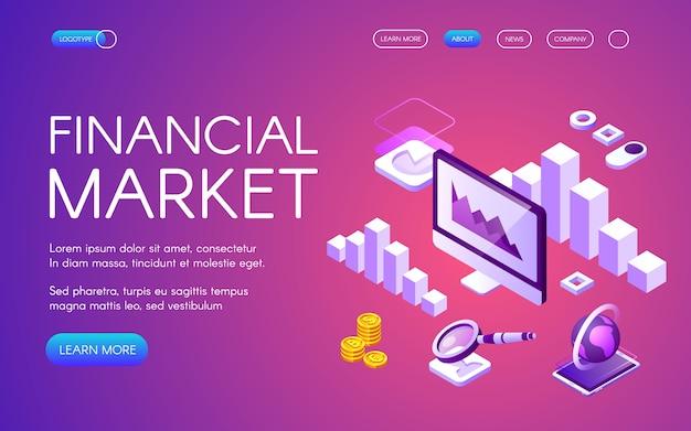 Финансовый рынок иллюстрации цифрового маркетинга и биткойн криптовалютной статистики торговли
