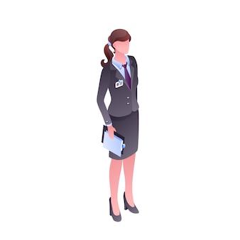 オフィス服の女性顔なしの孤立した文字のイラスト。