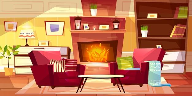 居心地の良い近代的またはレトロなアパートと家具のリビングルームのインテリアイラスト。