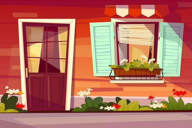 ガラスと窓のシャッターと天幕の入り口ドアの家のファサード図。