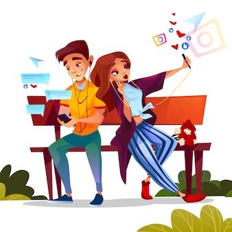 十代の少年と女の子のデートの若いカップルの花と一緒にベンチに座って