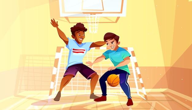 ボールを持つ黒アフロアメリカの十代の若者のバスケットボールを演じる男の子