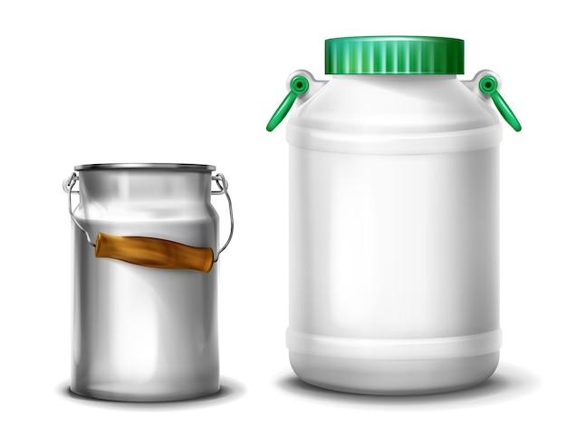 レトロな金属のアルミニウム製の缶またはキャップ付きのプラスチック製の水筒のミルク容器のイラスト