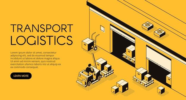 Иллюстрации складской транспортной логистики работника склада на поддонах грузового погрузчика