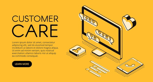カスタマーケアとオンラインサービスのイラストレーション。コールセンターのアシスタントまたはビジネス会社