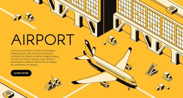 Транспортная логистика в аэропорту иллюстрация самолета, посылок на поддонах погрузчика