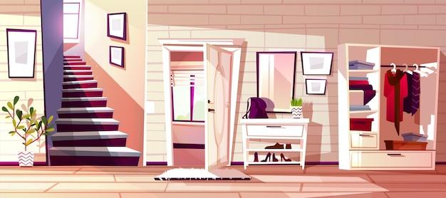 レトロアパートの廊下や店の入り口の廊下部屋のインテリアのイラスト