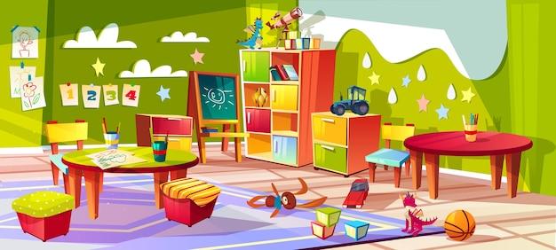 幼稚園または子供の部屋の室内のイラスト。子供のおもちゃと空の漫画の背景