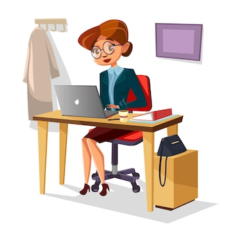 Мультфильм женщина-менеджер, работающих на ноутбуке за столом.