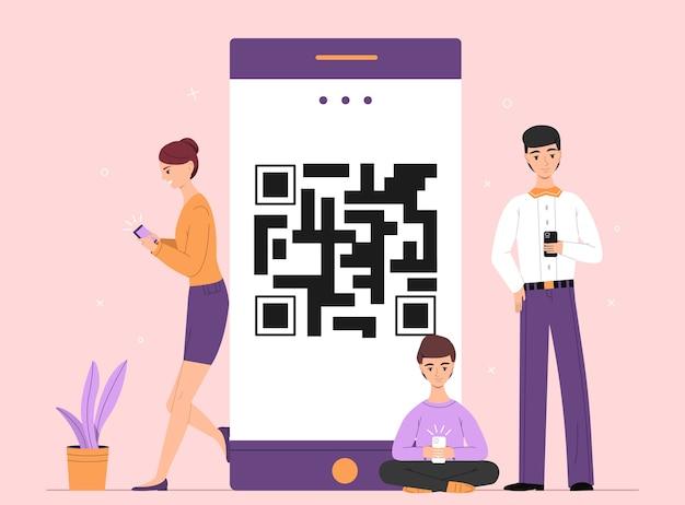 人々オンラインスマートフォンチャットのイラスト