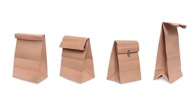 紙袋、食事のための茶色の紙の食料品の袋の現実的なイラストのセット