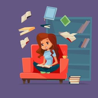 Женщина-ученик, сидящий в кресле, читающий учебник