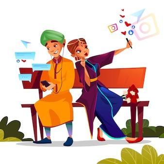 若いカップル、一緒にベンチに座っているサリーでインドの十代の少年と少女のイラストのデート