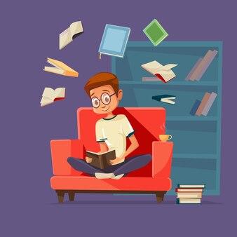 Мужской студент характер с очками, сидя в кресле чтение учебник
