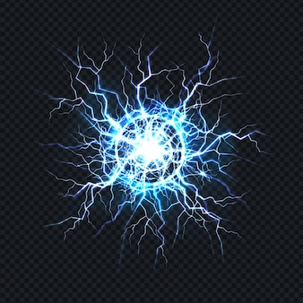 Мощный электрический разряд, удар удар молнии