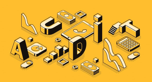 手紙のデザインとアイソメの黒細いビジネス監査のイラスト
