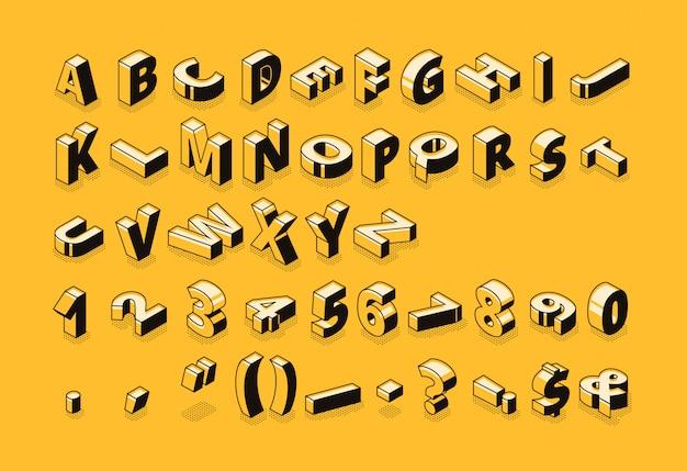 Изометрические буквы полутонов шрифт иллюстрации тонкой линии мультфильма