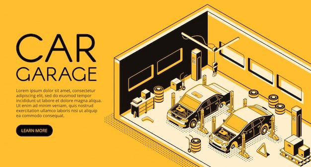 アイソメの黒い細い線のデザインの車のガレージの自動修理のメカニックステーションのイラスト