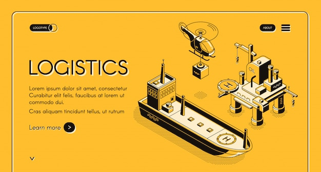グローバルな海上物流会社のウェブバナー、ヘリコプター運搬用コンテナ付きのランディングページ