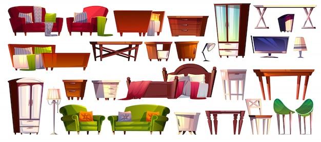 Главная мебель из спальни и гостиной интерьер набор иллюстрации.