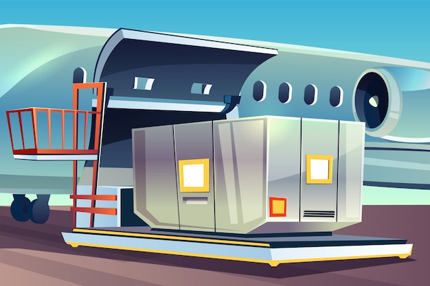 Иллюстрация загрузки грузового самолета для грузовой логистики.