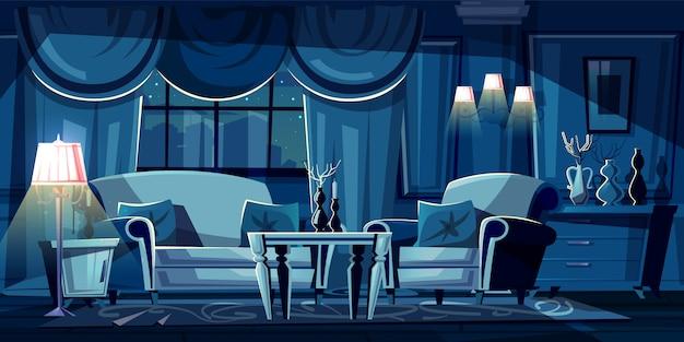 夜の暗いリビングルームの漫画のイラスト。ソファー、アームチェア付きのモダンなインテリア