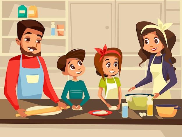 現代家族一緒にキッチンで調理する