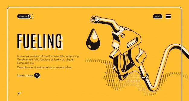 給油ガソリンまたはディーゼルアイソメトリックウェブバナー。ホースの燃料ノズルとガスの液滴