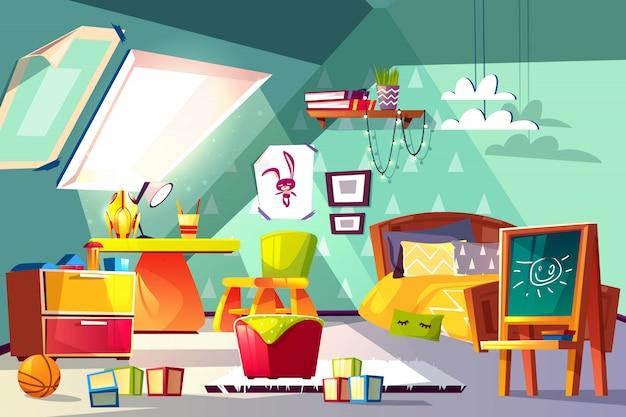 屋根裏部屋の子供の部屋のインテリア漫画のイラスト。幼児または未成年の男の子の居心地のよいベッドルーム