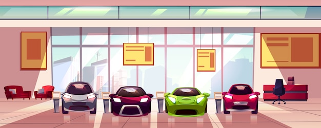 車のショールーム - 大きな部屋の新しい自動車販売店。ショップ窓、ガラスショーケース付きホール。