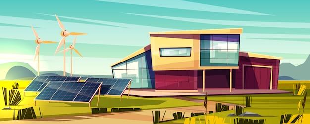 エネルギーに依存しない、効率的な家の漫画の概念。ソーラーパネル付きモダンコテージ