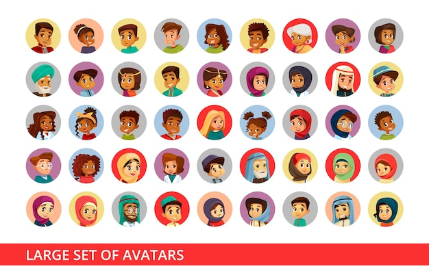 異なる国籍の人々や子供たちのソーシャルネットワークユーザーアバター