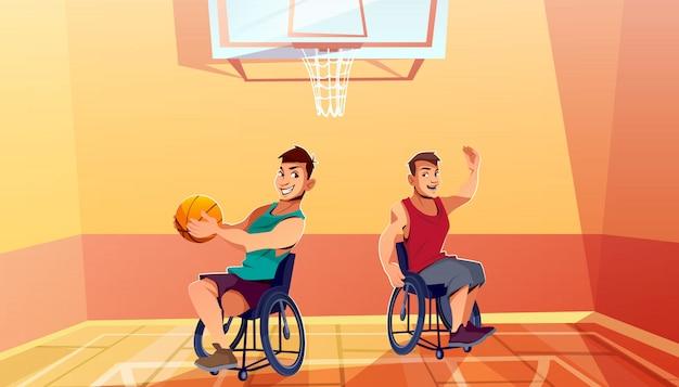 Два инвалидов человек на инвалидных колясках, играя в баскетбол мультфильм. физическая активность, реабилитация