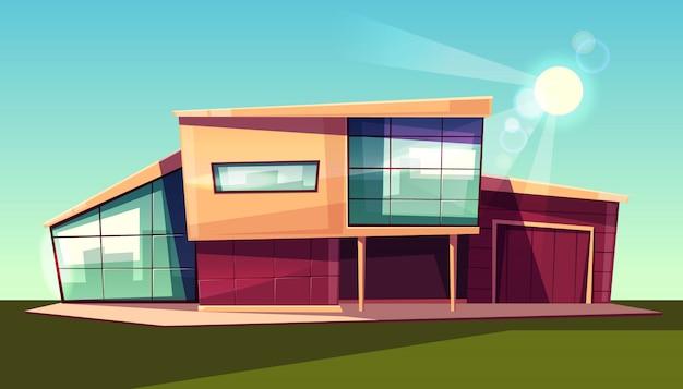 豪華なヴィラの外装、ガレージ付きのモダンなカントリーコテージ、ガラスのファサード付きの家